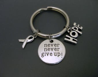 Cancer Keychain / Cancer Key Ring /  Never Give Up Keychain / Hope Keychain / Gift For Survivor / Breast Cancer / Cancer Awareness Keychain