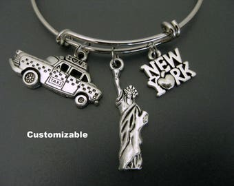 New York Bracelet / Statue of Liberty Bracelet / Travel Bracelet  / Travel Bangle / Taxi Expandable Bangle  / Adjustable Charm Bracelet