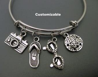 Beach Vacation Bracelet/ Beach Bangle / Flip Flop / Sunglasses Bangle / Sand Dollar Bangle /Adjustable Charm Bracelet / Expandable Bangle