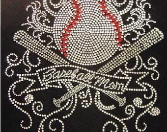 Baseball Mom  Rhinestone Iron On Transfer