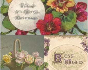 3 Antique Christmas Cards Best Wishes Victorian Happy Holidays Greetings Old Floral Embossed Xmas Early 1900s