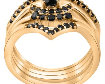 Diamond 1/2ct 4-Ring Stackable Yellow Gold Black Diamond Curved Wedding Engagement Set
