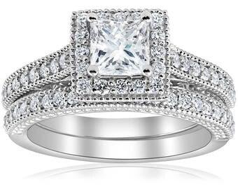 Princess Cut Diamond Engagement Ring Vintage Set E VS 1 1/2ct GIA Certified Princess Cut Halo Vintage Diamond Engagement Ring 14k White Gold