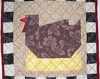 Chickens in the Kitchen Handmade Quilted Trivet, Kitchen Decor, Hot Pad, Table Topper