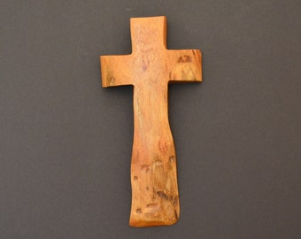 "Wooden Wall Cross; 4""x9""x1""; Rustic Cabin Decor;  Cross Wall Decor; Crooked Cross; Mesquite; Handmade;  Free Ground Shipping cc20-203052018"