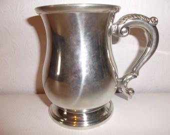 Vintage Ladies Pewter Tankard Pub Mug