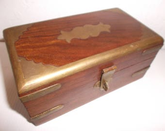 Vintage 1960s Bohemian Jewellery Box Hand Carved Wood and Brass Boho Trinket Box Storage Container
