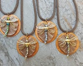 Dragonfly Necklace, Dragonfly Pendant, Dragonfly Jewelry,  Lily Pad Necklace, Women's Bohemian Necklace, Water Lilly Jewelry