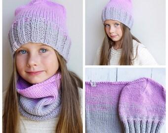 Knit Hat / Knit scarf / Girls knit hat / Girls Knit scarf /  Kids Hat / Beanie Hat / Toddler Girl Hat / Knit Girls Scarf