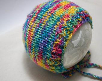Rainbow Newborn Baby Bonnet Gender Neutral Bonnet for Newborn Photo Prop Bright Rainbow Bonnet