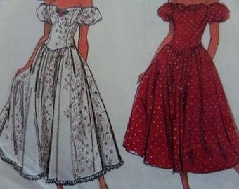 PRINCESS SEAM DRESS Pattern • Simplicity 8383 • Miss 10-14 • Party Dress • Sweetheart Neck • Off Shoulder • Retro Patterns • WhiletheCatNaps