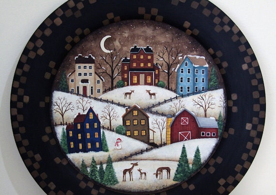 Winter Folk Art Painting, Primitive Christmas Scene on Wood Plate, Colorful saltbox houses, snowy hills, moon, deer, barn, MADE TO ORDER