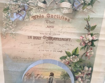 Antique Marriage License Certificate 1899