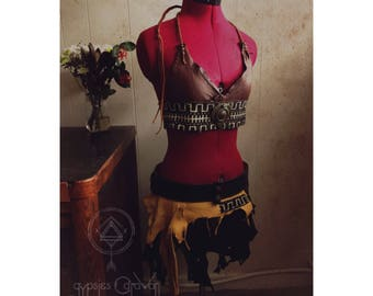 FULL OUTFIT   Intimate Waves of Energetic Expressions Tribal Leather Gypsy Halter bra top