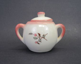 Vintage Pink and White Sugar Bowl with Floral Transfer Design (E9754)