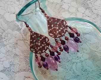 copper amethyst boho earrings, Bohemian hippie gypsy Copper chandelier amethyst earrings