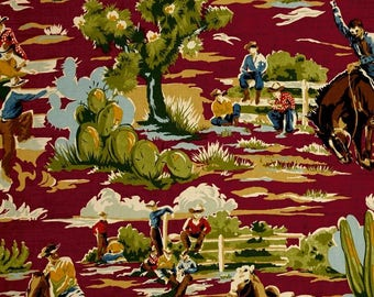 """Valance or Panel REAL COWBOYS Print med. weight designer  Cotton 52 x 14"""" 18"""" 24"""" or 32"""" Lined or unlined"""