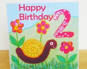 Snail Birthday Card Age Two, Bright Birthday Card, Birthday Card For Boy, Birthday Card For Girl