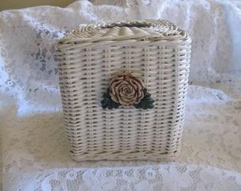 Vintage White Wicker Flower Standing Tissue Box
