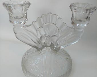 Vintage Glass Candle Holder  Iris and Herringbone by Jeanette Glass Company 1928 - 1932