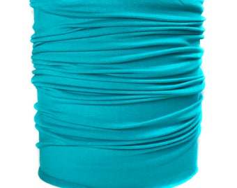 Men's Turquoise Hippie Band, Bandeau Headband, Blue Head Hugger, Plain Head Wrap, Soft Headscarf, Sweat Headwrap (#1607) S M L X
