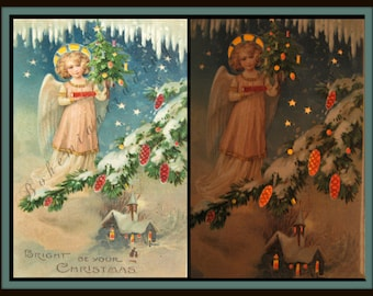 Christmas Card. Hold to Light Postcard. Victorian Angel, Christmas Tree, Church. Rare Antique 1900s Novelty Holiday Décor Collectible.