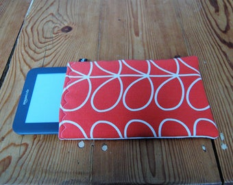 """Handmade Kindle 6"""" or Paperwhite Cover Sleeve Orla Kiely Linear Stem Fabric in Tomato"""