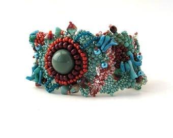 Teal seed bead bracelet, Beaded bracelet, Bead jewelry, boho style jewelry, Birthday gift for women