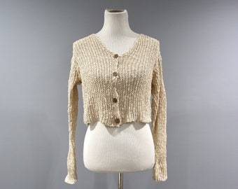Vintage Gap Sweater Womens Size Small S Linen Blend Cropped Cardigan 90s Grunge