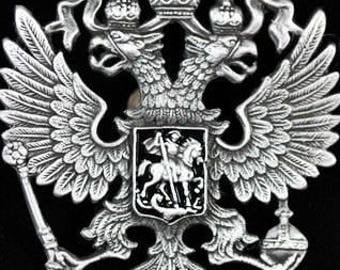 Double-Headed Russian State Imperial Eagle Crest Coat of Arms.  Beautiful Lapel Pin.  Great Craftsmanship. Ship from USa