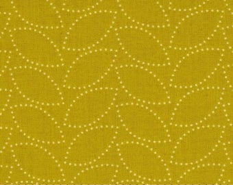 1 Yard CHICOPEE Dotted Leaf PWDS036 Lime Mustard Gold Denyse Schmidt Free Spirit Quilting Sewing Fabric