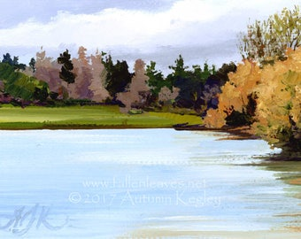 Greenlake Spring Color Study I - Framed Original Plein-air Altoid Tin Oil Painting on Canvas - 2x3 Inches Square