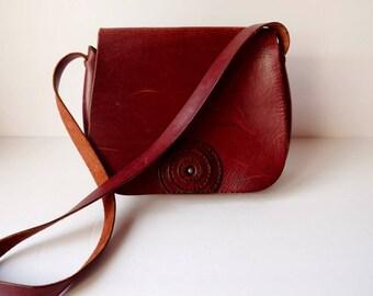 Vintage Saddle Bag Burgundy Red Brown Leather Shoulder Bag 70s - 80s