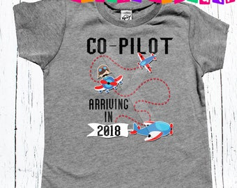 Co-Pilot announcement tee shirt big brother to be personalized tee shirt boys 2018 big brother promotion announcement tee shirt