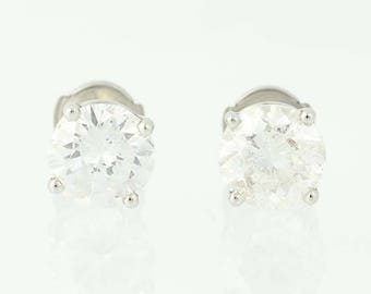 Diamond Stud Earrings - 950 Platinum La Pousette Pierced Round Cut 4.00ctw N9597