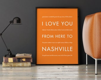 Tennessee Art, Nashville Poster, Travel Gift, Moving Gift, Travel Poster, Wall Art Print, I Love You From Here To TENNESSEE,