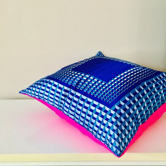 "SALE Blue Mod Pillow Cover 20""x20"" Square Cushion Cover Retro Vintage Up Cycled Fashion Scarf Blue Geometric Pink Neon"