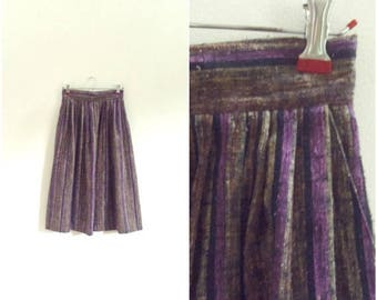 Moving Sale Vintage bohemian brown and purple striped wool skirt / high waisted gypsy midi skirt