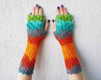 Fingerless Gloves Handmade Wrist Warmers Arm Warmers Dragons gloves lacy long mittens womens fingerless