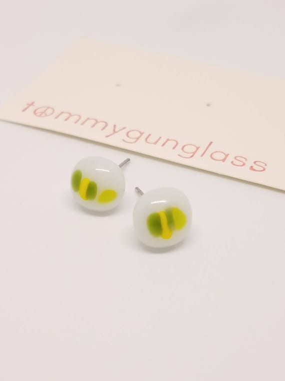 Dainty Green and Yellow Striped Glass Stud Earrings