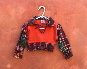 Vintage 1970s Groovy Toddler's Girl's Blouse Top Shirt. 2T Orange Brown Yellow Red Floral Plaid