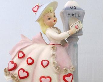 Vintage Relpo Valentine Girl Mailbox Planter