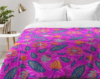 Fuchsia Batik Summer Floral Comforter Quilt Duvet, Unique New Home Housewarming Gift, Eclectic Whimsical Guest Bedroom Decor, Wedding Gift