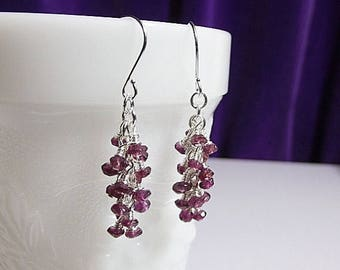 40% OFF SALE thru Tues Garnet Cluster Drop Earrings, Birthstone Christmas Gift, Mom Sister Grandmother Girlfriend  Bridesmaid Jewelry Gift,