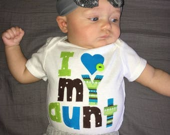 Adorable I love my aunt, sister, brother, uncle and more - blue, green applique shirt, onesie new baby gift, birthday or fun - newborn to 16