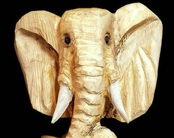 Chainsaw Carved Elephant Bust
