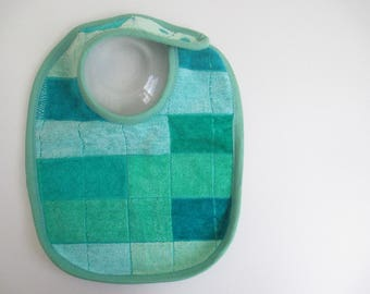 EcoBib--Adjustable Snap Closure--Modern Aqua and Green Block Pattern--Ready to Ship