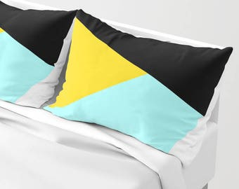 NORDIC Color Block Pillow Sham standard or king SET OF 2, Black Yellow Aqua Teal Blue White Anthracite Grey Abstract Geometric Pattern vivid