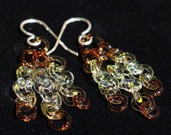 Amber Fade Glass Chain Earrings