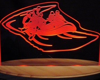 "Rafters Water Raft Acrylic Edge Lit Lighted 13"" Led Sign Made in the USA"